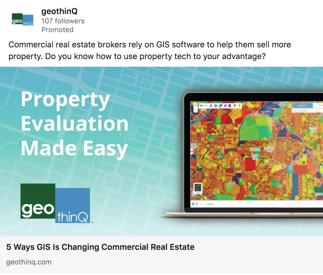 This paid ad for geothinQ helped drive this GIS technology client to new lead generation records.